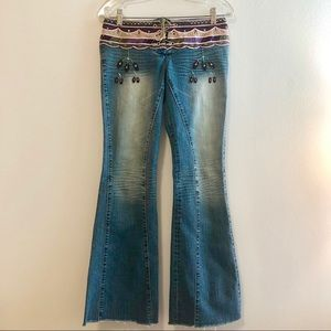 Dollhouse Embroidered Lace Up Festival Flare Jeans